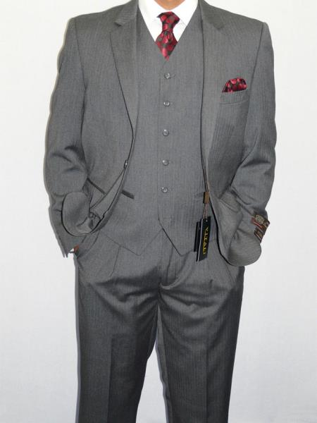 Men's Vintage Style Suits, Classic Suits Three Piece Vested Suit Mini Herringbone Tweed Gray $150.00 AT vintagedancer.com