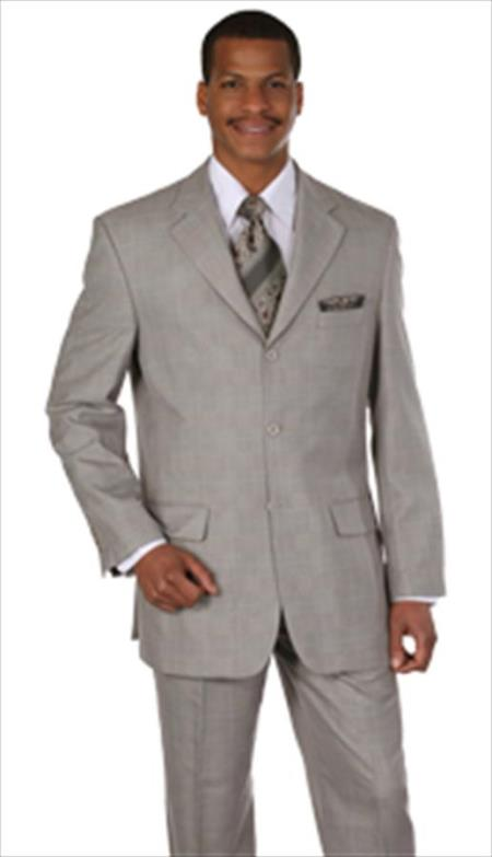Men's Vintage Style Suits, Classic Suits Plaid Window Pane Houndstooth Pattern GreyTan $100.00 AT vintagedancer.com