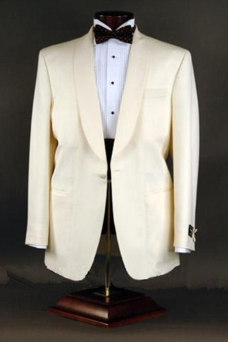 1950s Tuxedos and Men's Wedding Suits Best crafted professionally Superior fabric 120s Wool fabric 1-button Shawl Single-breasted Color Ivory $230.00 AT vintagedancer.com