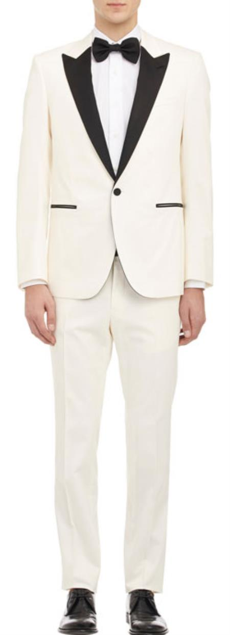 Ivory with Dark color black Peak Collared Single Buttons Tux