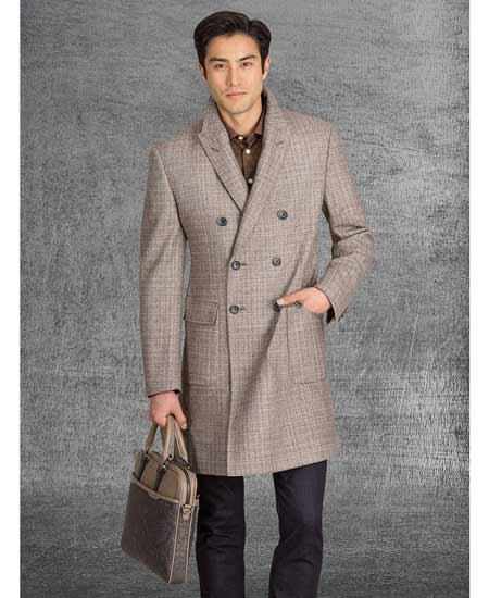 Men's Vintage Style Coats and Jackets Mens Light Brownish Mix  Topcoat Tan  Taupe  Khaki  Camel  Double Breasted Overcoat $251.00 AT vintagedancer.com
