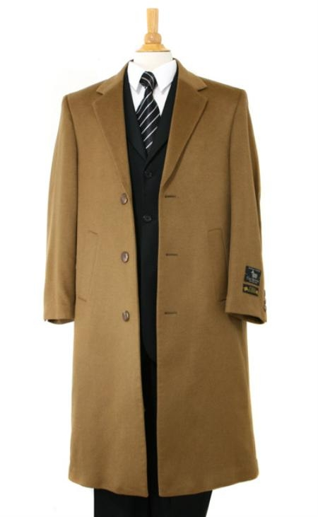 Men's Vintage Style Coats and Jackets Harward Luxurious soft finest Pure Cashmere Wool fabric Full Length Dark Camel  Khaki Topcoats  overcoats for men $250.00 AT vintagedancer.com