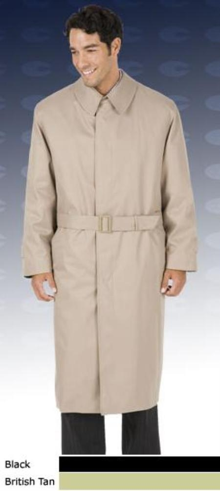 Men's Vintage Style Coats and Jackets 46 Inch Center Vent Fly Front Coat With Split Raglan Sleeves Full Belt Trench Coat  Raincoat Tan Khaki $151.00 AT vintagedancer.com