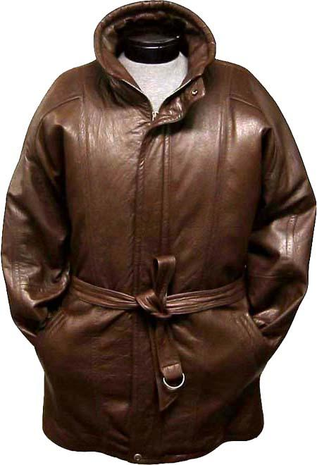 50s Men's Jackets| Greaser Jackets, Leather, Bomber, Gaberdine Classic 34-Length OverCoat with Belt Zip-To-Top China Collar Coco Chocolate brown Leather skin Long length trench coat  Raincoat  Duster $476.00 AT vintagedancer.com