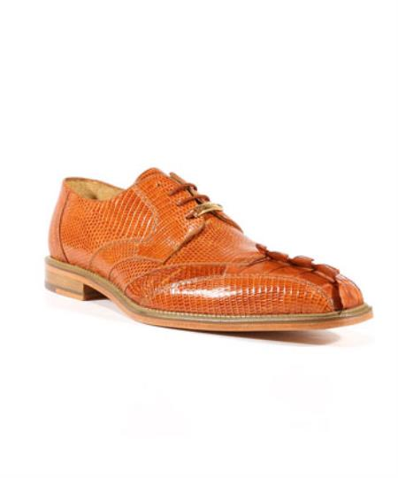 Belvedere Shoes Topo Lizard Caiman Alligator Oxford Cognac