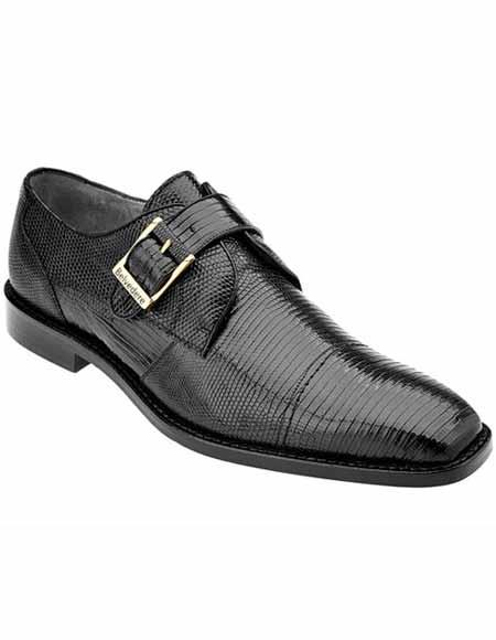Men's Belvedere Black Genuine Monk Strap Style Lizard Skin Leather Shoes