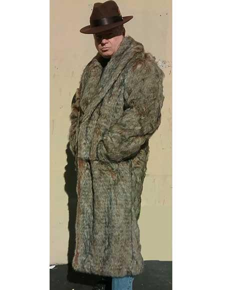 Men's Vintage Style Coats and Jackets Mens Faux Fur Topcoat  Long Length Overcoat Coffee Brown $300.00 AT vintagedancer.com