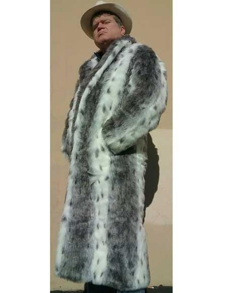 1920s Mens Coats & Jackets History Mens Faux Fur Topcoat  White  Black Long Length Overcoat $251.00 AT vintagedancer.com