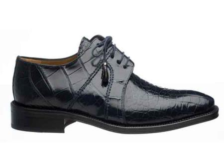 Ferrini Navy Genuine Full Gator skin Lace Up Cheap Priced Exotic Skin Shoes For Sale For Men