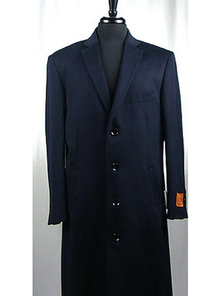 Men's Vintage Style Coats and Jackets Single Breasted 4 Button Wool Blend Navy Blue Bravo Top Overcoat $250.00 AT vintagedancer.com