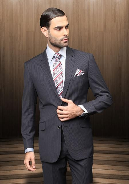 Mens Navy Blue Pinstripe Suit