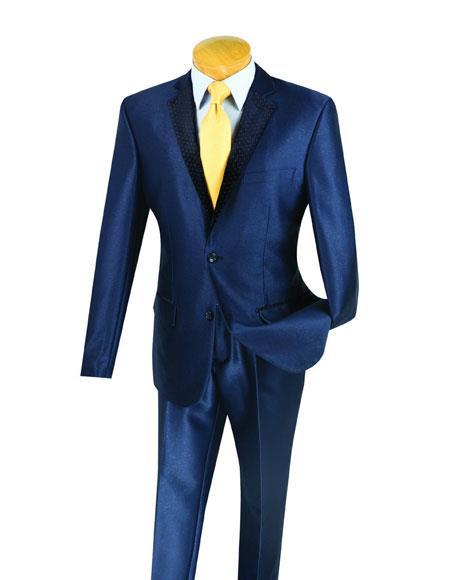 Mens Navy Blue Shiny Suit