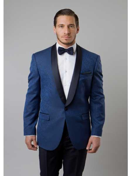 Navy blue Tuxedo, Dark color black Collared Two Toned Sportc