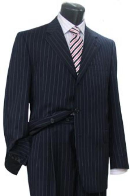 1940s Zoot Suit History & Buy Modern Zoot Suits Conservative navy blue colored Pinstripe crafted professionally italian fabric Three buttons Dress Suit $200.00 AT vintagedancer.com
