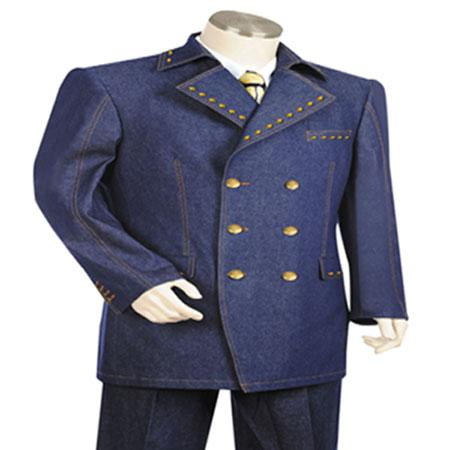 1960s Mens Suits | 70s Mens Disco Suits Navy Wide Leg 22Inch Pant Suit $186.00 AT vintagedancer.com