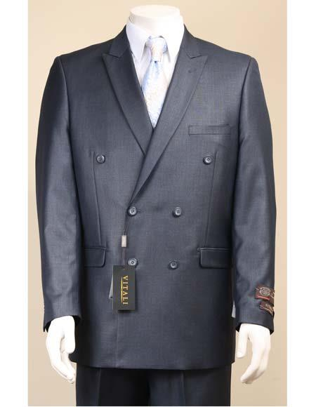 Mens Navy Sharkskin Shiny Suit