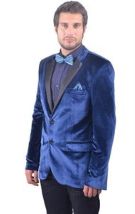 1960s Inspired Fashion: Recreate the Look Navy  Midnight blue Fitted Velvet Sportcoat Jacket with Tuxedo Satin Collared $200.00 AT vintagedancer.com