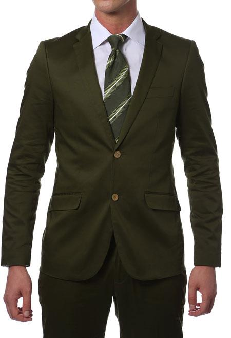 Summer Inexpensive ~ Cheap ~ Discounted Clearance Sale Extra Slim Fit Prom Suit Dark Green Cotton Skinny Fit Suits for Men