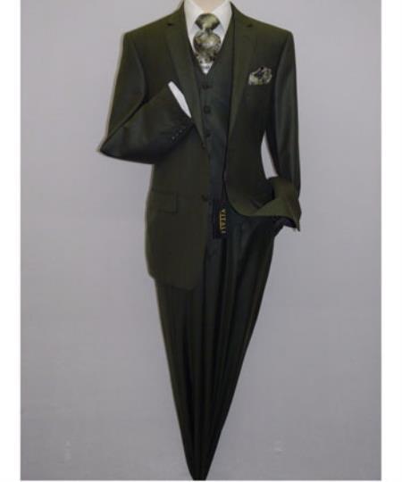 Mens Olive Green Vest Suit