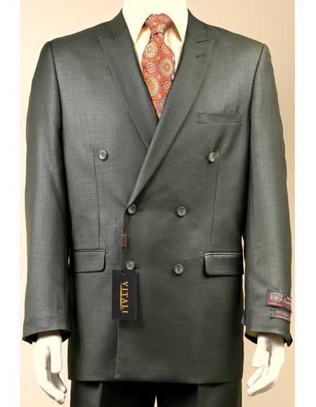 Mens Olive Sharkskin Shiny Suit