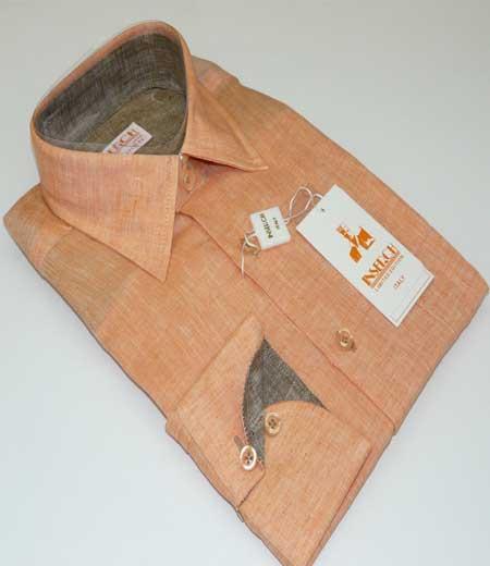 Mens Linen Orange Long