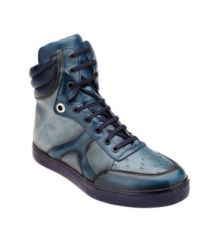 Men's Belvedere Ostrich Hi Top Blue Exotic Sneakers