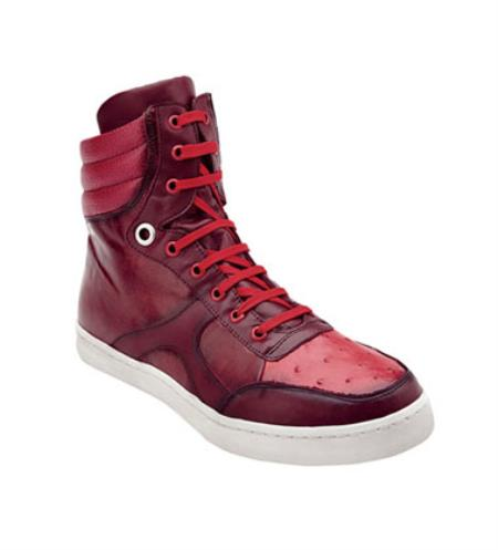 Men's Belvedere Ostrich Hi Top Exotic Red Sneakers