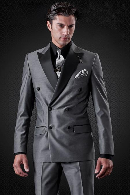 Double Breasted Charcoal Peak Lapel Button Closure Slim Fit