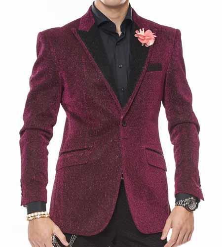 Men's Sport Coat Jacket Celebratory Peak Lapel Pink Sparkling Fabric Coat/Blazer Sport