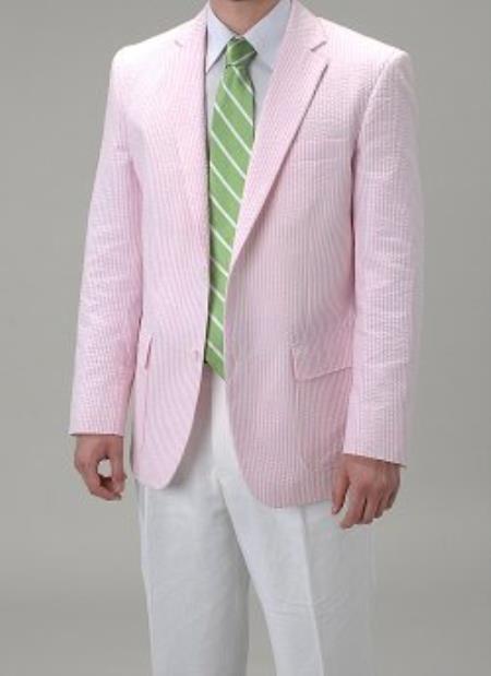06910c9f756 Pink Single Breasted seersucker Pattern Sportcoat Jacket