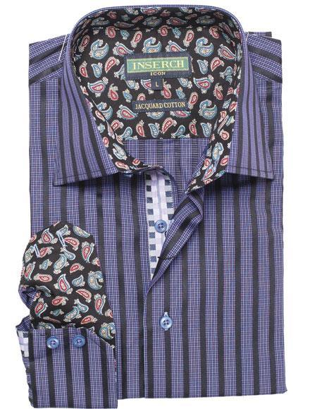 1960s – 70s Mens Shirts- Disco Shirts, Hippie Shirts Purple Floral Paisley Fashion Casual Cotton Spread Collar Shirt $68.00 AT vintagedancer.com