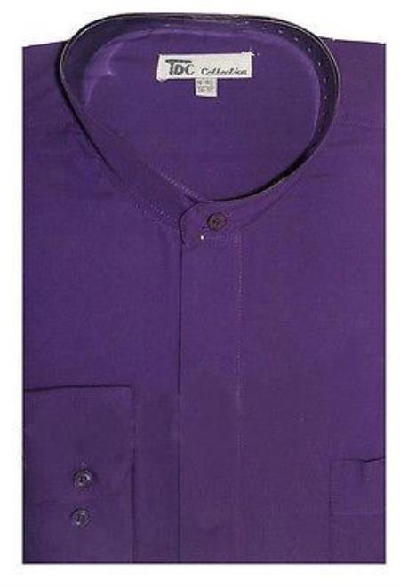 Collarless Dress Shirt with Mandarin Purple pastel color