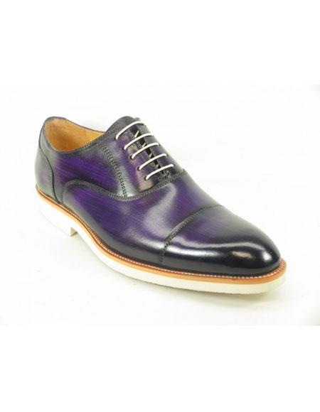 Carrucci Fashionable Genuine men's Purple Dress Shoe Leather Oxford With White Sole