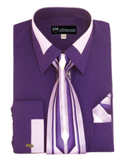 Handkerchief New Men/'s Spread Collar French Cuff Dress Shirt w// Matching Tie