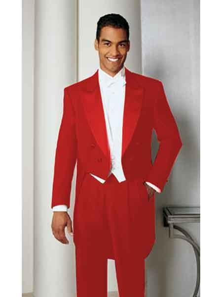 Hot red pastel color Basic Full Dress Tailcoat With Peak Lapel - Red Tuxedo Jacket With Tail