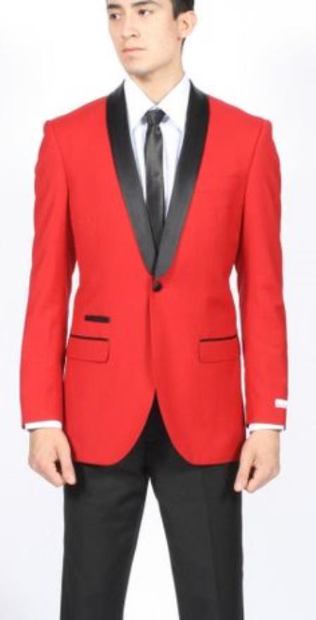 Red Dinner Jacket Tuxedo Suit Black Lapel Formal Attire   Black Pants
