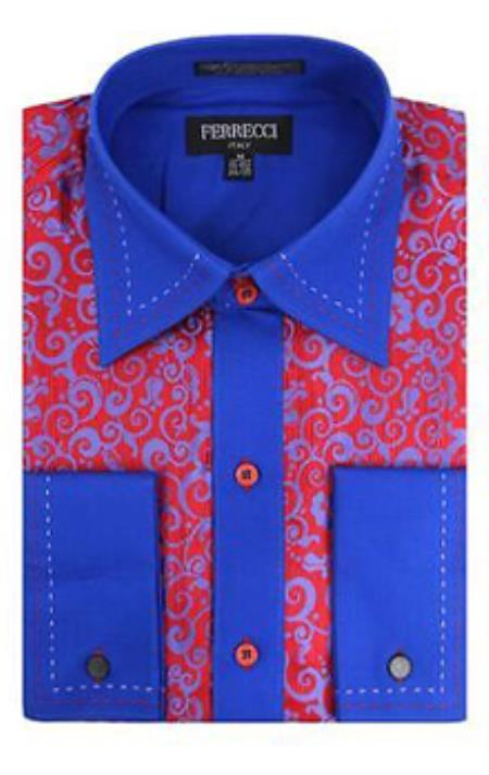 Mens Red Royal Blue Dress Shirt