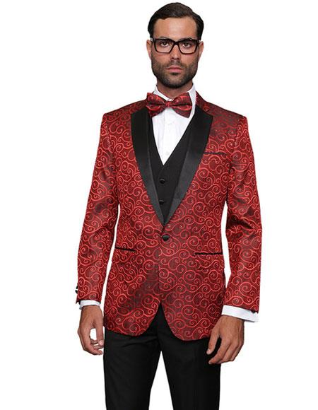 Two Toned Christmas Red Sequin Glitter Paisley Patterned Tuxedo Looking Party Sport Coat Black Lapel Fancy Party Best Cheap Blazer Suit Jacket For Men Affordable Cheap Priced Unique Fancy For Men Available Big Sizes on sale