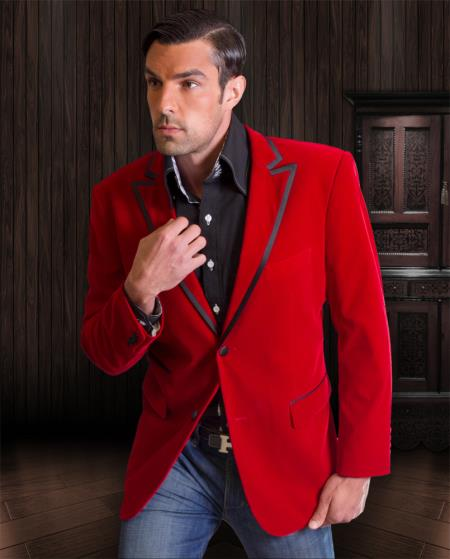 Velvet Sportcoat Jackets | Trimming red pastel color tux coa