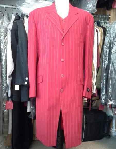 Men's Long Maxi Zoot ~ Stripe Fashion Red Suit