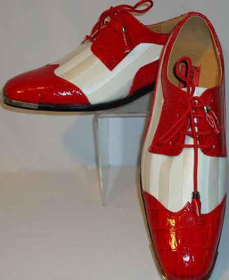 red white two tone dress shoes silver tipped