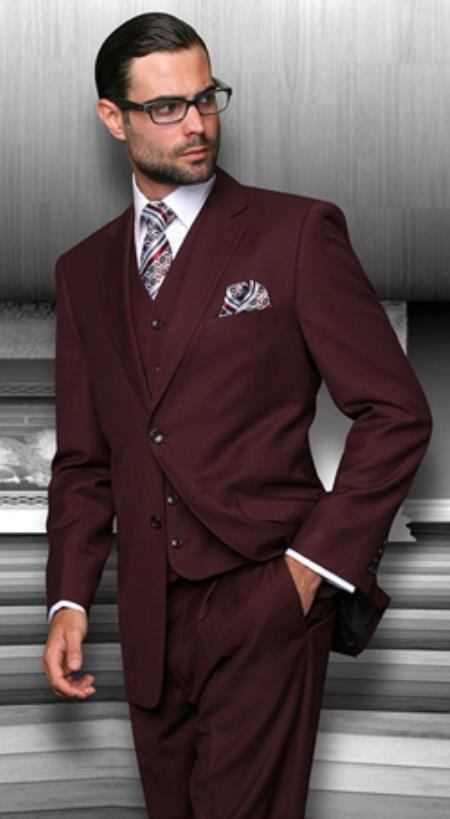 Burgundy Regular Fit Vested Jackets with Pleated creased Pan