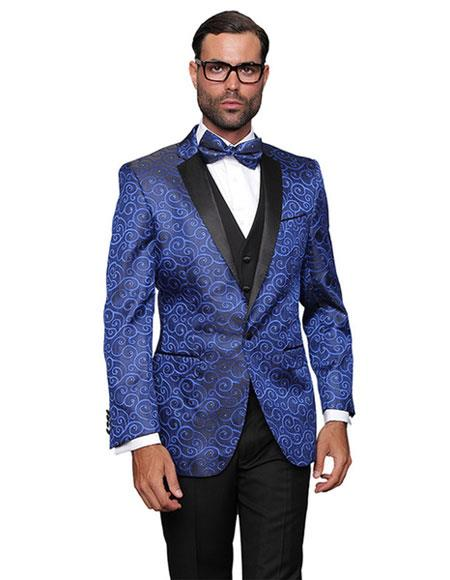 Two Toned Royal Blue Glitter Paisley Patterned Tuxedo Party Black Lapel Fancy Party Best Cheap Blazer Suit Jacket For Affordable Cheap Priced Unique Fancy For Men Available Big Sizes on sale Men Affordable Sport Coats Sale