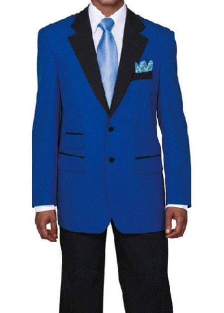 Light ~ Royal blue ~ Wedding Tuxedo with Dark color black Dinner Jacket Suit Best Inexpensive ~ Cheap ~ Discounted Blazer Suit Jacket For Affordable Cheap Priced Unique Fancy For Men Available Big Sizes on sale Men Sport Coats Sale