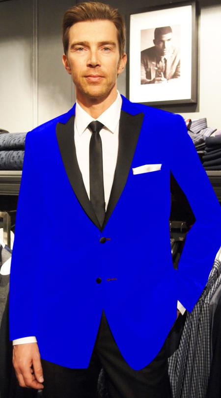 Velvet Velour Sportcoat Jacket Formal tux coats Sport Coat Two Tone Trimming Notch Collar Royal Blue