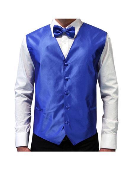 Mens Royal Blue Vest Tuxedo