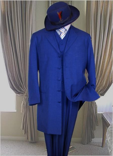 1940s Zoot Suit History & Buy Modern Zoot Suits Classic Long length Royal Blue Fashion Zoot Suit $140.00 AT vintagedancer.com
