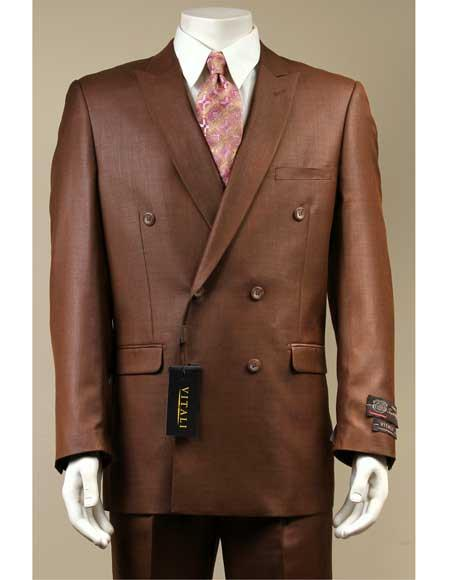 Mens Rust Sharkskin Shiny Suit