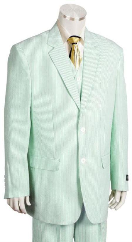 3 piece seersucker pattern suit in soft fiber rayon whitelim
