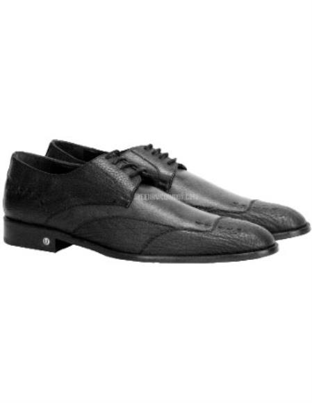 Vestigium Men's Genuine Sharkskin Black Derby Shoes